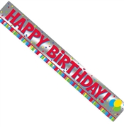 Foil Birthday Banner: 9 Ft