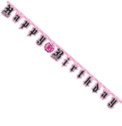 Pink and Black Birthday Banner: 7 Feet