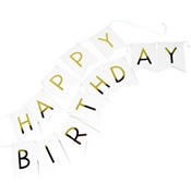 Gold & White Happy Birthday Banner