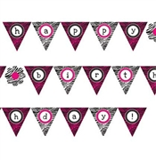 Zebra Print Happy Birthday Banner