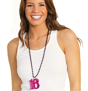 Pink Sweet 16 Beaded Necklace