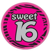 Sweet 16 Satin Zebra Print Button