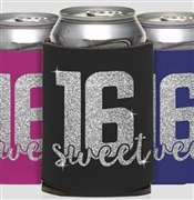 Glitter Block Sweet 16 Can Cooler