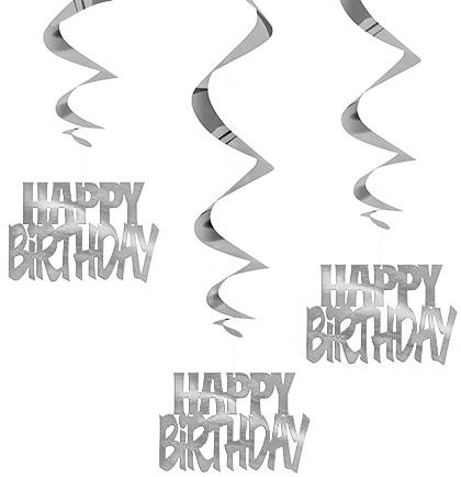 Silver Happy Birthday Dangler