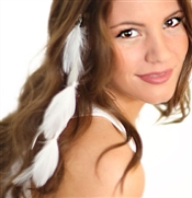 White Feather Hair Extension Clip
