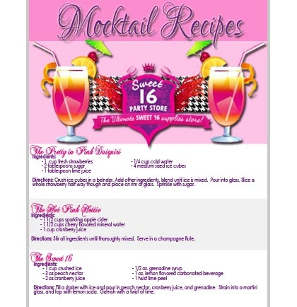 Free printable sweet 16 party planning checklists more free sweet 16 party mocktail recipes filmwisefo Image collections