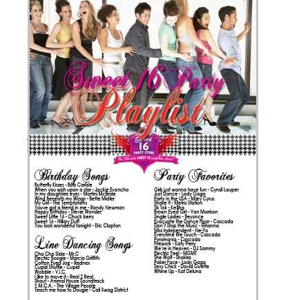 Party Playlist free sweet 16 songs playlist | sweet 16 party store