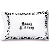 Birthday Autograph Zebra Pillowcase