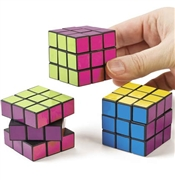 Set of 6 Colored Mini Puzzle Cubes