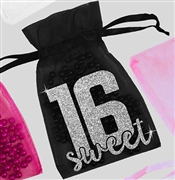 Glitter Block Sweet 16 Organza Favor Bag