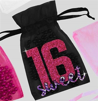 Glitter Block Pink & Purple Sweet 16 Organza Favor Bag