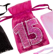 Pink Gem 15 Organza Favor Bag