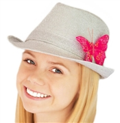 Silver Fedora Butterfly Hat