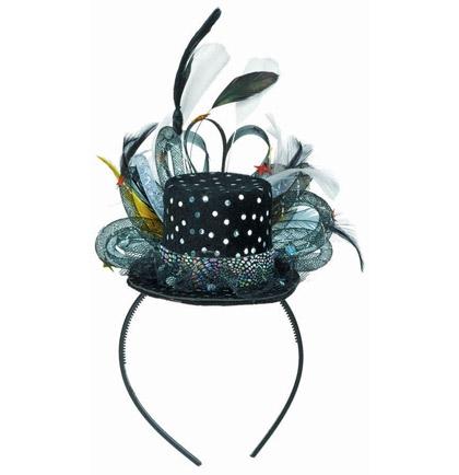 Feathered Black Mini Hat Headband  dfe3196c017