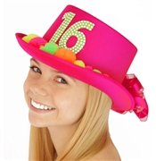 Hot Pink Sweet 16 Pom Hat