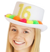 White Sweet 16 Pom Hat