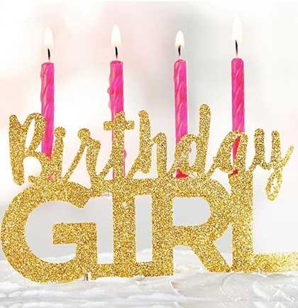 Gold Glitter Birthday Girl Cake Topper Larger Photo