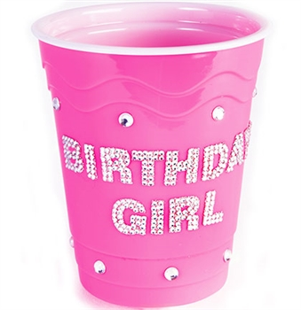 Pink Birthday Girl Bling Stadium Cup