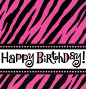 Pink Zebra Happy Birthday Napkins
