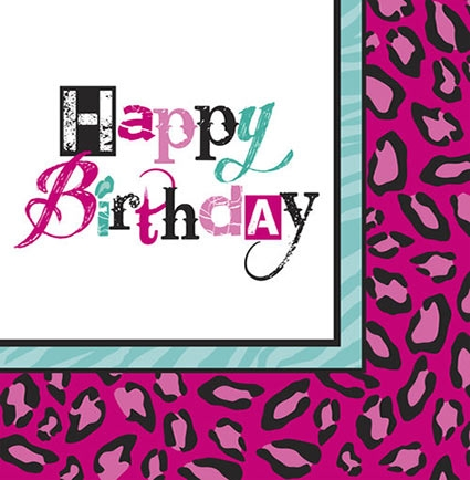 Birthday Animal Print Napkins Sweet 16 Party Store