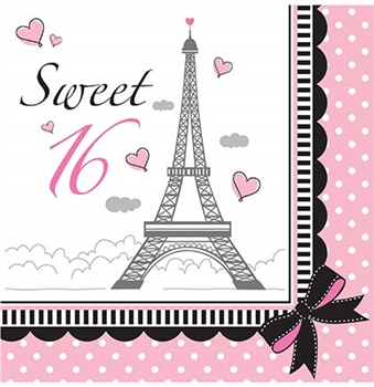 Party in Paris Sweet 16 Napkins