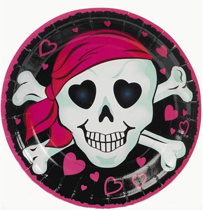 Pink Pirate Girl Plates Sweet 16 Party Decorations