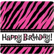 Pink Zebra Happy Birthday Plates