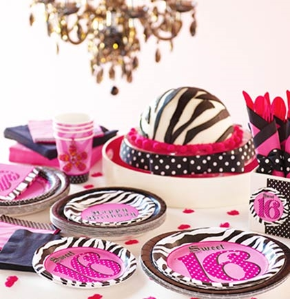 sweet 16 pink zebra print plates sweet 16 party decorations