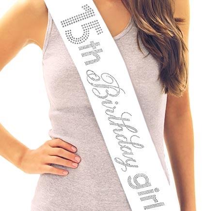 15th Birthday Girl Rhinestone Sash Quinceanera Sashes
