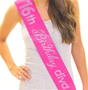 16th Birthday Diva Rhinestone Sash