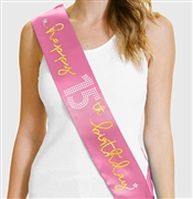 Gold  Happy 15th Birthday Foil & Rhinestone Sash