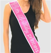 Pink Gem 15th Birthday Princess Rhinestone Sash