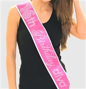 Pink Gem 16th Birthday Diva Rhinestone Sash