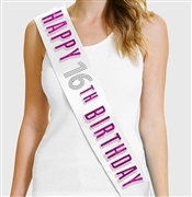Pink Happy 16th Birthday Foil & Rhinestone Sash