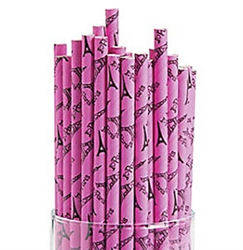 Perfectly Paris Hot Pink Paper Straws
