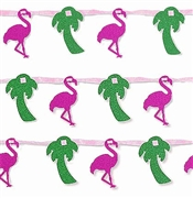 Flamingos & Palm Trees Glitter Garland