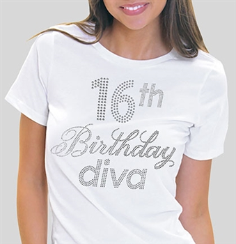16th Birthday Diva Rhinestone Tee | Sweet 16 Shirts