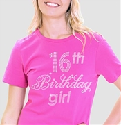 16th Birthday Girl Rhinestone Tee | Sweet 16 Shirts