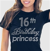 16th Birthday Princess Rhinestone Tee | Sweet 16 Shirts