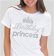 Birthday Princess with Crown Rhinestone Tee | Sweet 16 Shirts