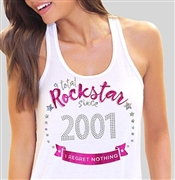 Total Rockstar Since 2001 Flowy Racerback Tank Top | Sweet 16 Shirts