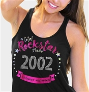 Total Rockstar Since 2002 Flowy Racerback Tank Top | Sweet 16 Shirts