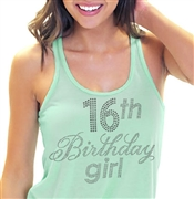 16th Birthday Girl Flowy Racerback Tank Top | Sweet 16 Shirts