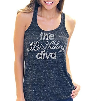 The Birthday Diva Flowy Racerback Tank Top | Sweet 16 Shirts
