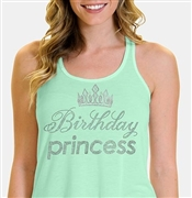 Birthday Princess with Crown Flowy Racerback Tank Top | Sweet 16 Shirts