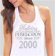 Perfecting Perfection Since 2000 Flowy Racerback Tank Top | Sweet 16 Shirts