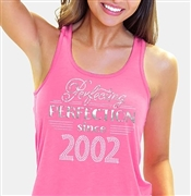 Perfecting Perfection Since 2002 Flowy Racerback Tank Top | Sweet 16 Shirts