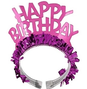 Fringed Hot Pink Happy Birthday Headband
