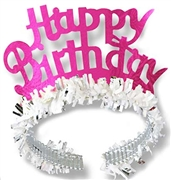 Fringed Hot Pink Happy Birthday Tiara