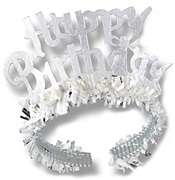 Fringed Silver Happy Birthday Tiara